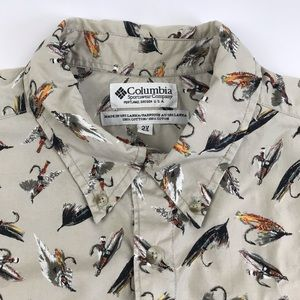 Columbia fly fishing lure button shirt 2XL Big